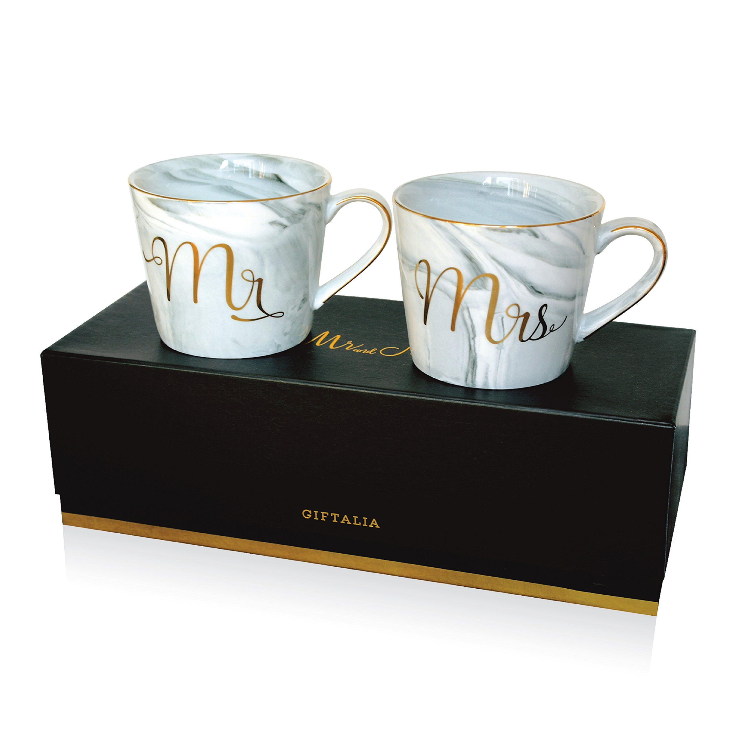 Wedding Gift - Mr and Mrs Mug Set - Classy and Elegant Gift Box with 2 Marble/Gold Tea or Coffee Cups - Beautiful Couples Anniversary, Engagement or Wedding Present for Bride and Groom - His and Her's by GIFTALIA (Image #2)