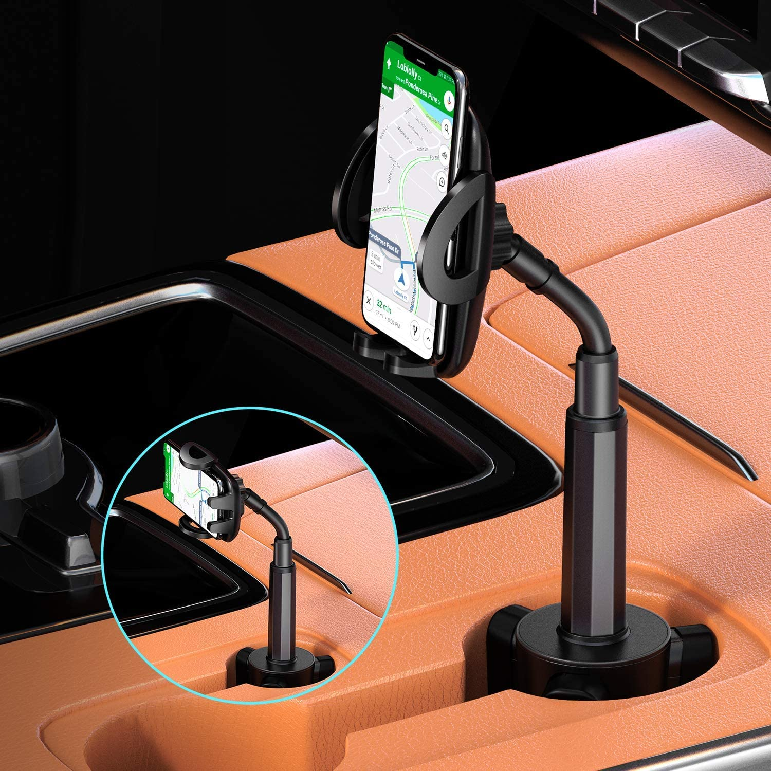 Facbiny Adjustable Universal Cup Holder 360/° Rotatable Smart Phone Cradle Car Mount for iPhone 11 Pro//XS//XR//X//8//7 Plus//6s Galaxy S20//S10//S9//S8//S7 Edge Car Cup Holder Cell Phone Mount