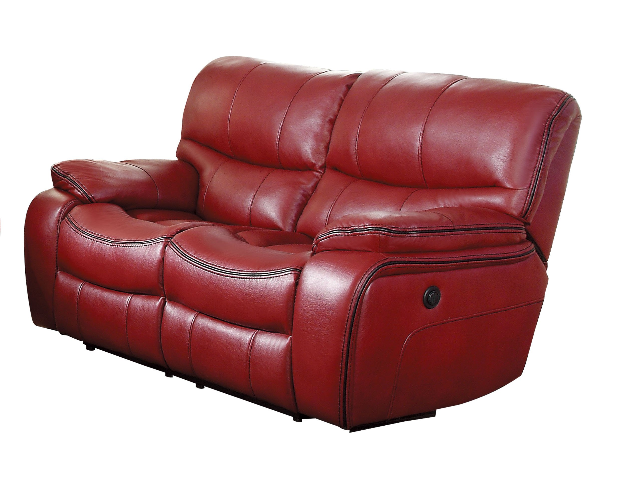 Homelegance Pecos Modern Design Power Double Reclining Love Seat Leather Gel Match, Red