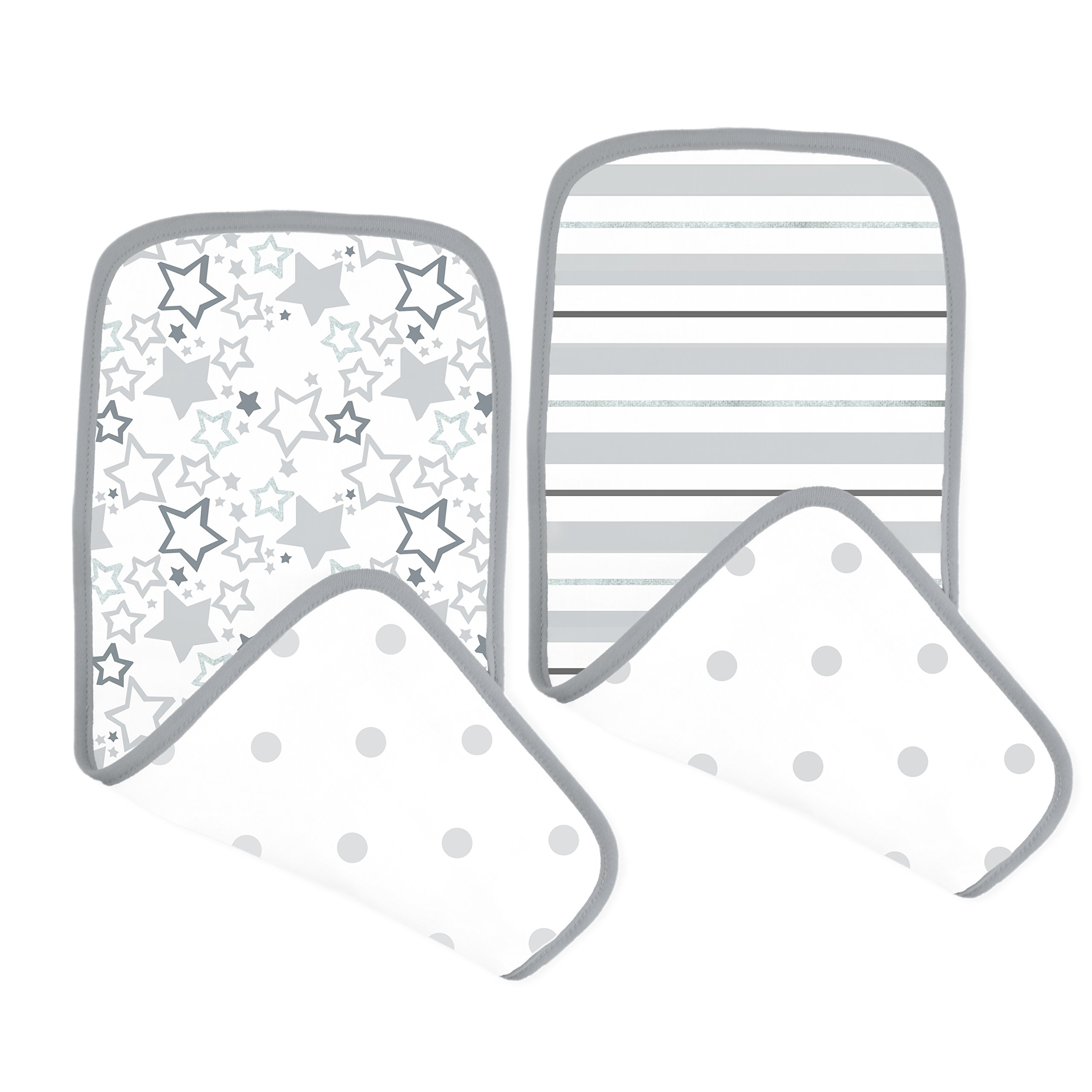 SwaddleDesigns Cotton Muslin Baby Burpies, Set of 2 Cotton Burp Cloths, Sterling Starshine Shimmer