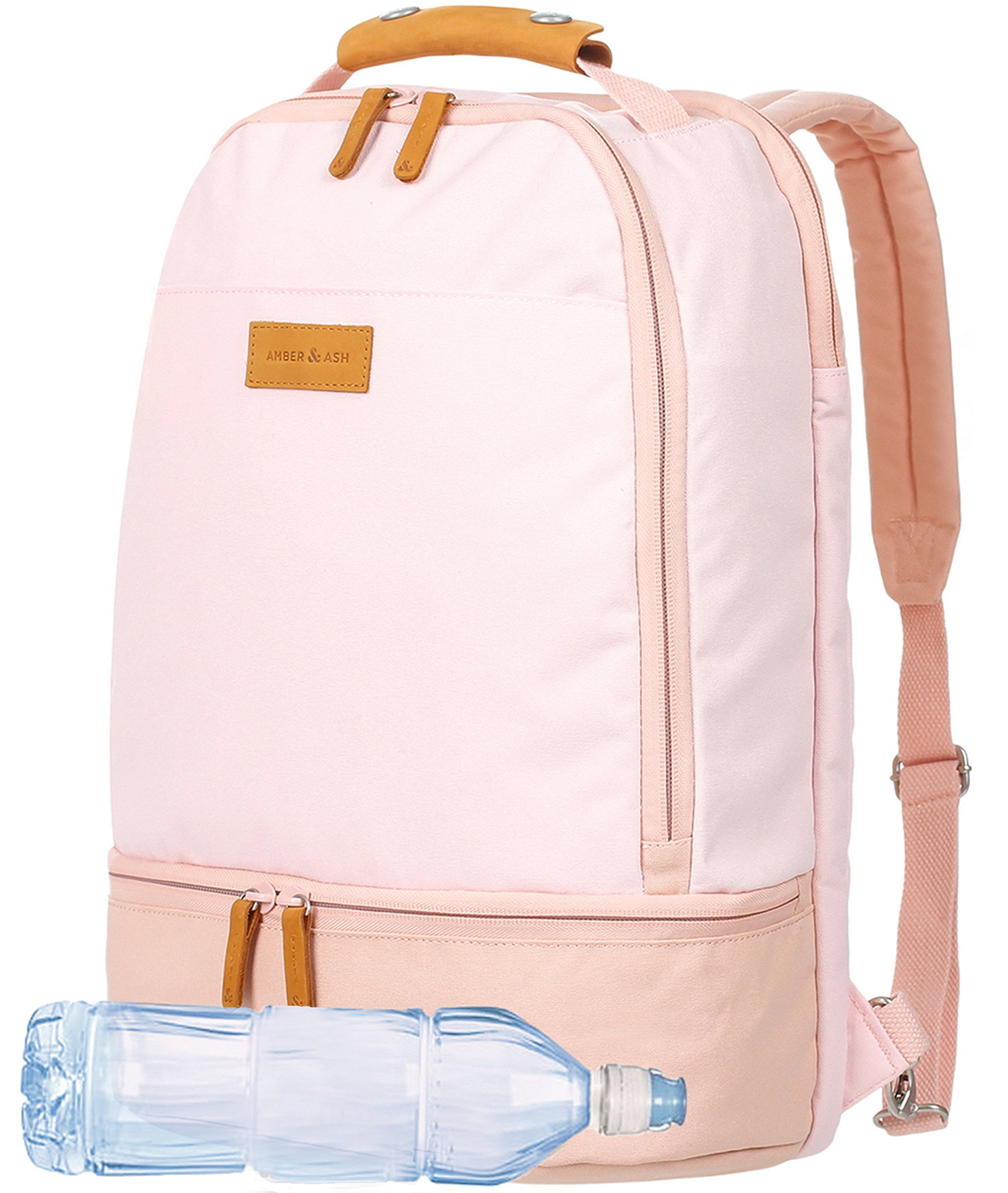 AMBER & ASH Everyday Laptop School Backpack for Girls, Business Anti Theft Slim Durable Water Resistant College School Computer Bag for Women Fits 15.6 Inch Laptop Notebook [Pink]