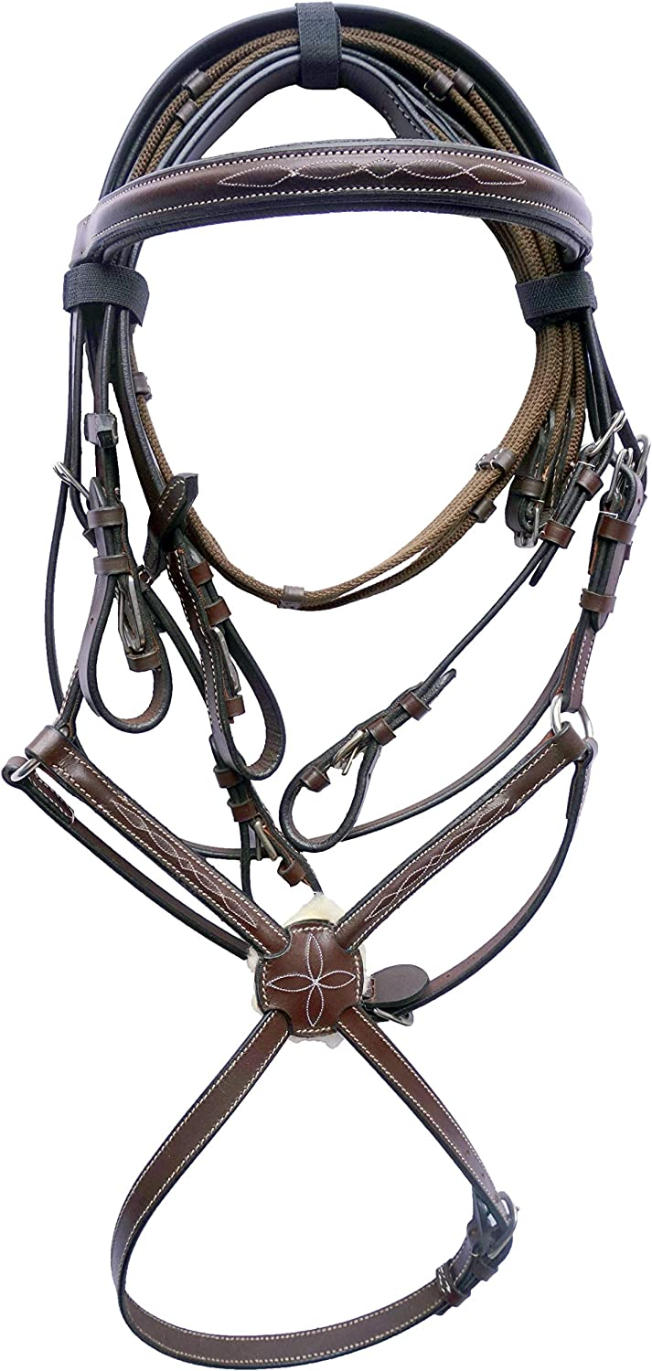 Equitem Leather Figure 8 Horse Bridle with Fancy Stitching with Webbed Reins