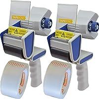 Tape King TX100 Packing Tape Dispenser Gun (2 Pack) - Plus 2 Free Rolls of Packaging Tape - Best Side Loading 2 Inch…
