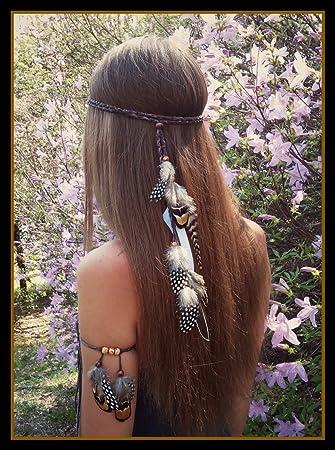 Kopfband Haarband Hippie Mit Federn Und Holzperlen Für Frisuren Lose