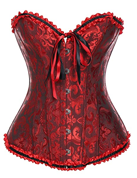 4c6700b12ff Vaslanda Women Steampunk Vintage Overbust Corset Bustier Lingerie Top  Floral Satin Lace up Waist Cincher Black Red White at Amazon Women s  Clothing store