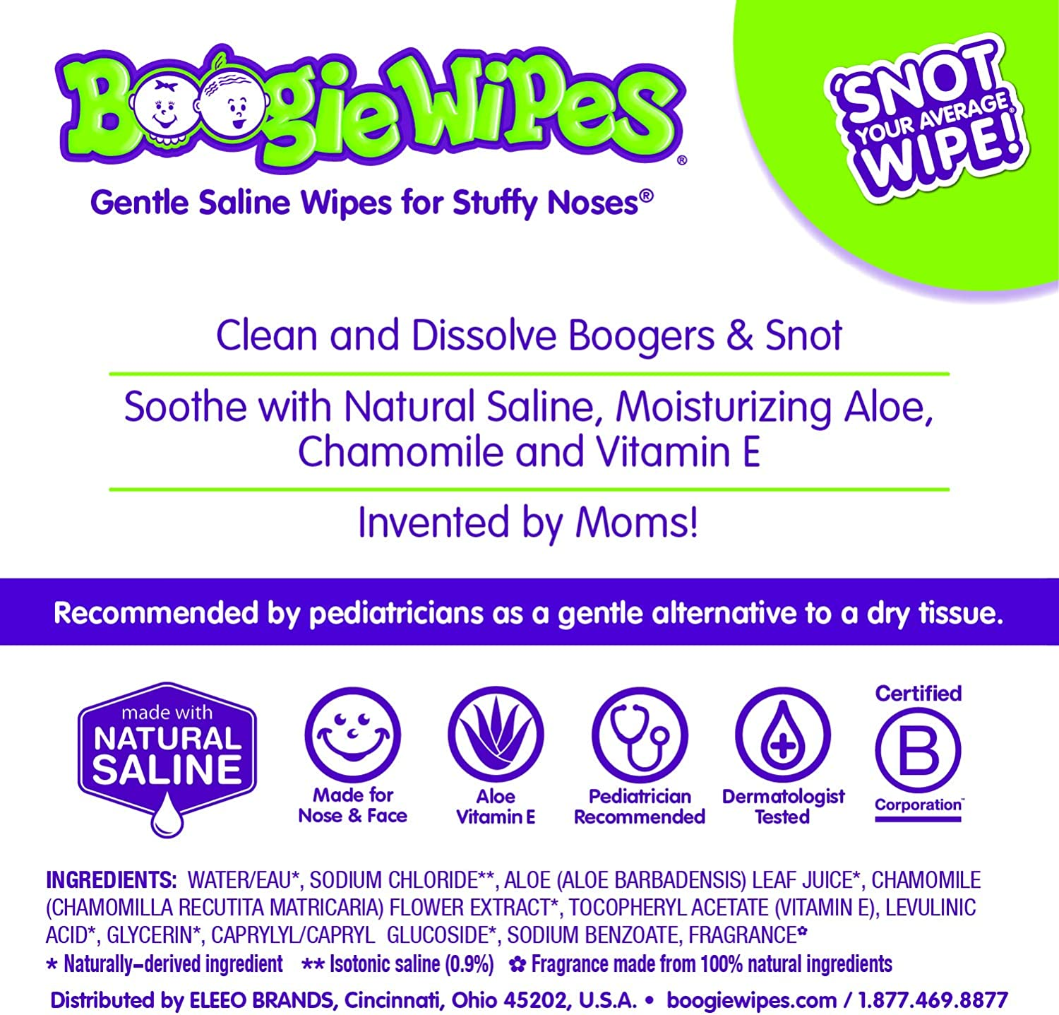 Boogie Wipes Grape Scent Extra Soft Saline Wipes 30 CT by Little Busy Bodies