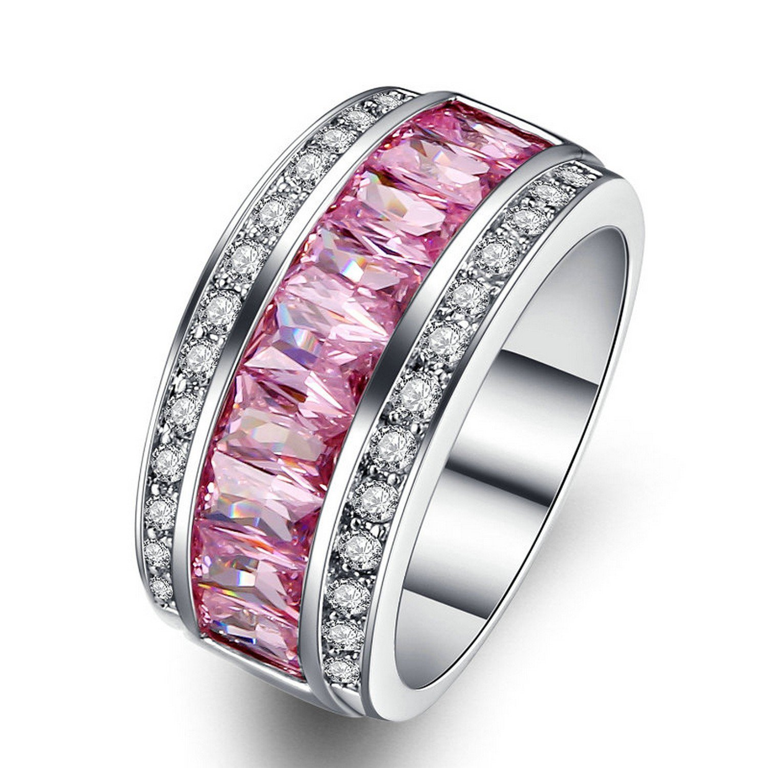 Dudee PRingcess Pink Color Square-cut cubic zirconia engagement rings fashion ring sets