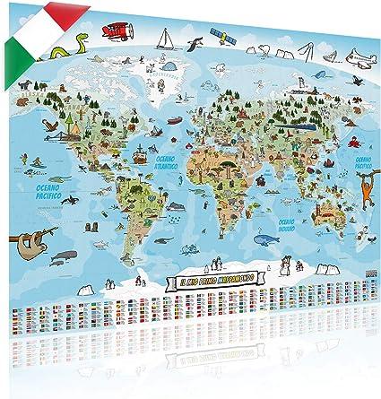 Cartina Mondo Lego.Goods Gadgets Mappa Panoramica Del Mondo Per Bambini Xxl 140x100cm Mappa Del Mondo Per Bambini Completamente Disegnata A Mano E Colorata Italiano Amazon It Casa E Cucina