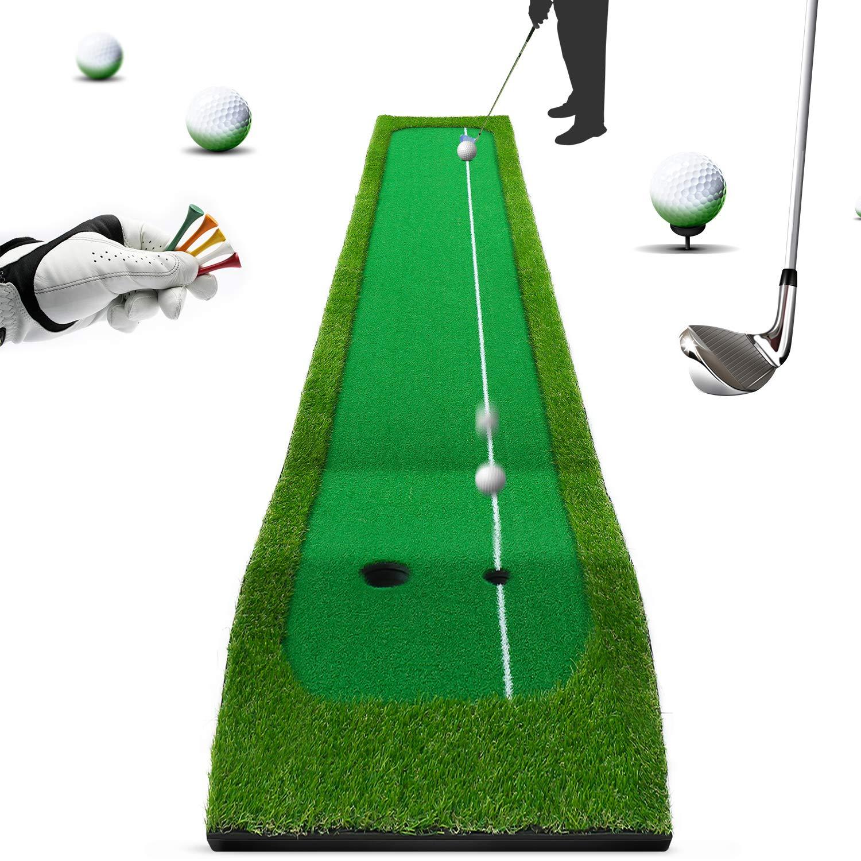 ゴルフマット スイング練習マット パッティングマット ショットマット 自宅 室内 練習用パターマツト 面滑り止め仕様 人工芝 コンパクト収納(300㎝*75㎝&60㎝*30㎝) マット3m*75cm  B07HGCBWTT