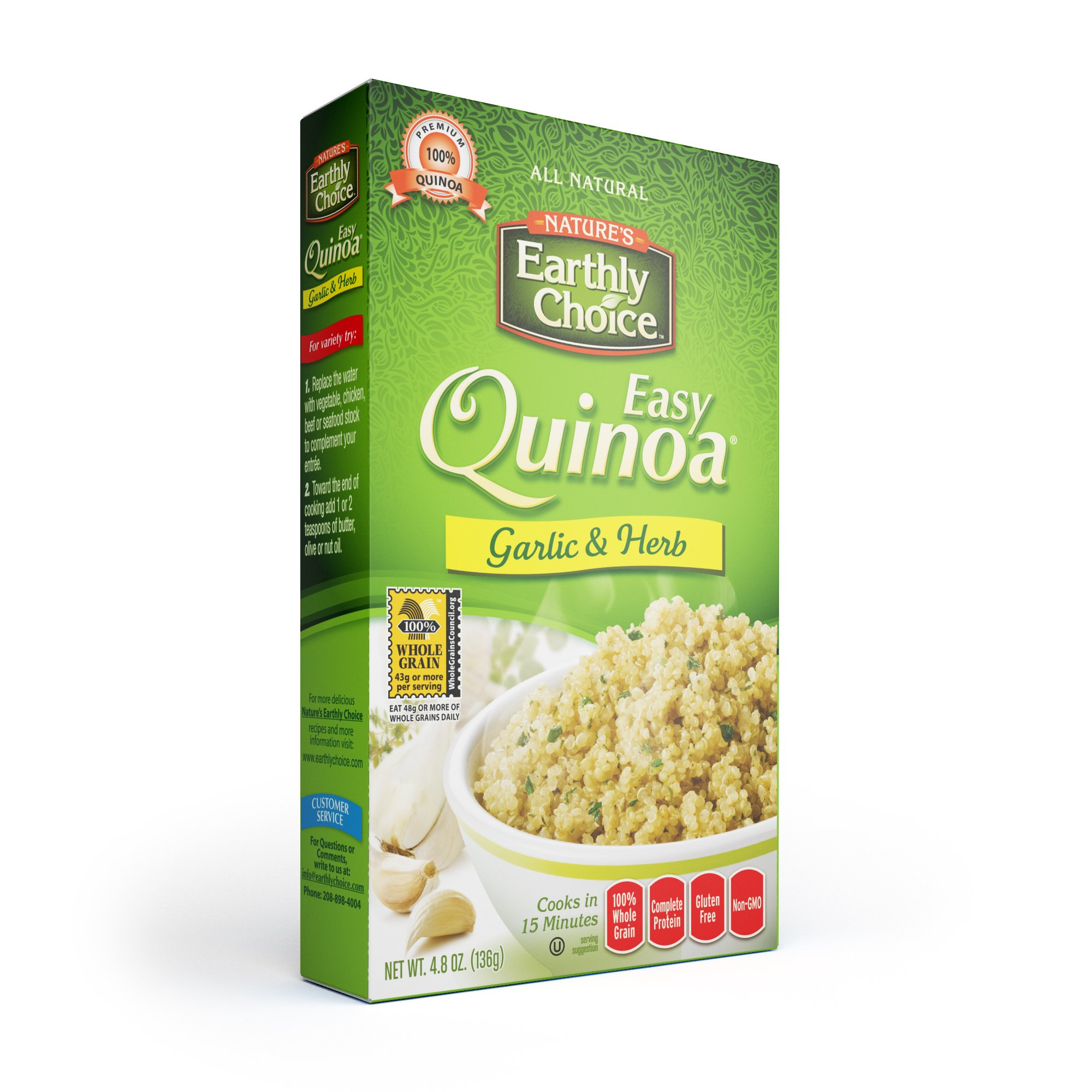 Nature's Earthly Choice Garlic and Herb Quinoa, 4.8 Ounce (Pack of 6)