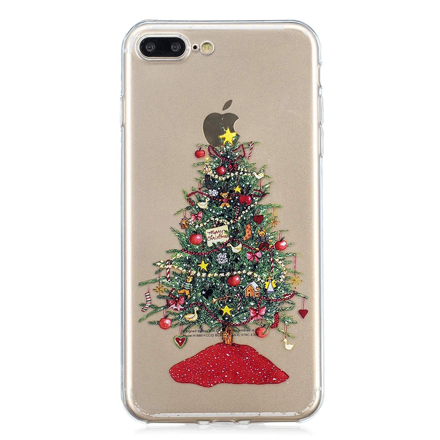 359a92f87f Merry Christmas Series New Fashion Painted Christmas Tree Pattern  Transparent TPU Silicone Protective Ultra Slim Clear Case for iPhone 7 Plus  /8 Plus,SKYXD ...