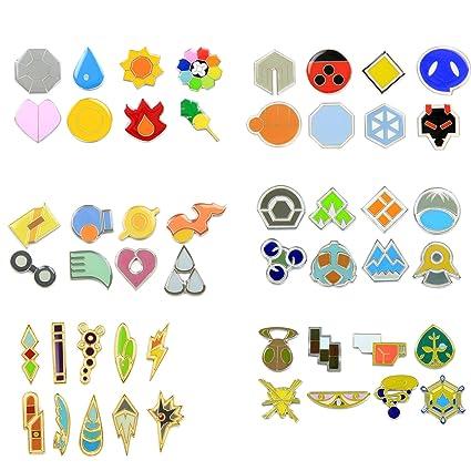 amazon com pokemon gym badges gen 1 6 clear coating iron