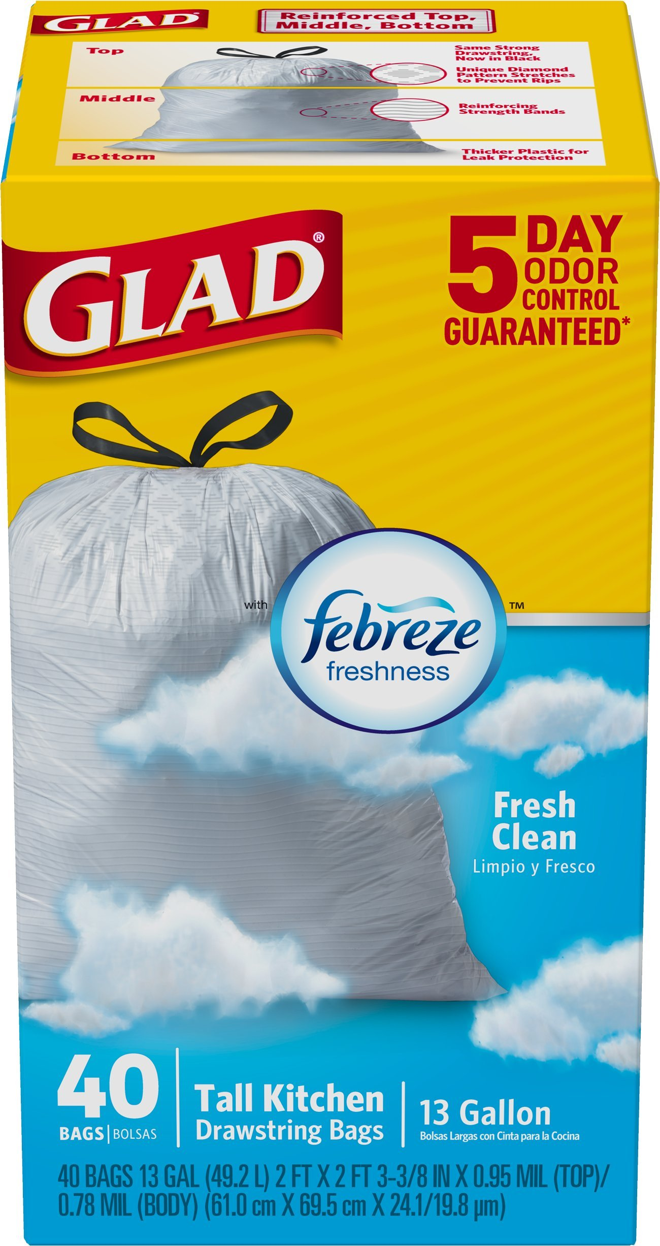Glad OdorShield Tall Kitchen Drawstring Trash Bags, Fresh Clean, 13 ...