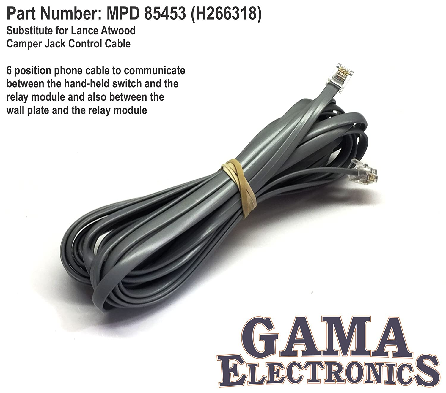 Substitute for Lance Atwood Camper Jack Control Cable GAMA Electronics Inc. MPD 85453