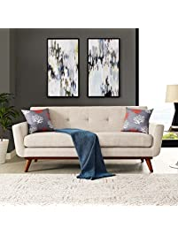 Modway Engage Mid Century Modern Upholstered Fabric Loveseat In Beige