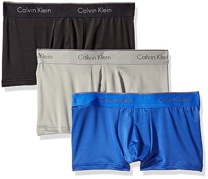 cd084f8c67b2 Calvin Klein Men's Microfiber Stretch Multipack Low Rise Trunks,  Black/Cobalt Water/Grey
