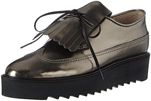 Marc OPolo Lace Up Shoe 70814243402102, Mocasines para Mujer, Silber (Gunmetal