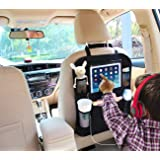 """Car Organizer by AutoMuko iPad and Tablet Holder with Car Seat Organizer - Touch Screen Pocket for Android & iOS Tablets up to 9.5"""" -With One-year Limited Warranty"""