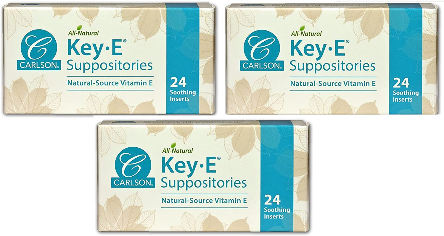 Carlson Labs Key-E Suppositories with Natural Vitamin E, 24 Count (72 Count)