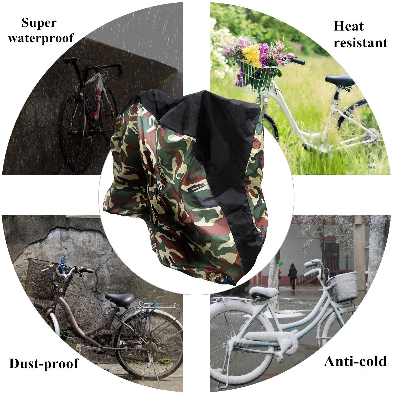 Funda para Bicicleta Cubierta Impermeable 190T Protector portátil y Plegable de Poliéster, Contra Lluvia,Sol,Polvo 200 x 110 x 70 cm -Negro y Plata ...