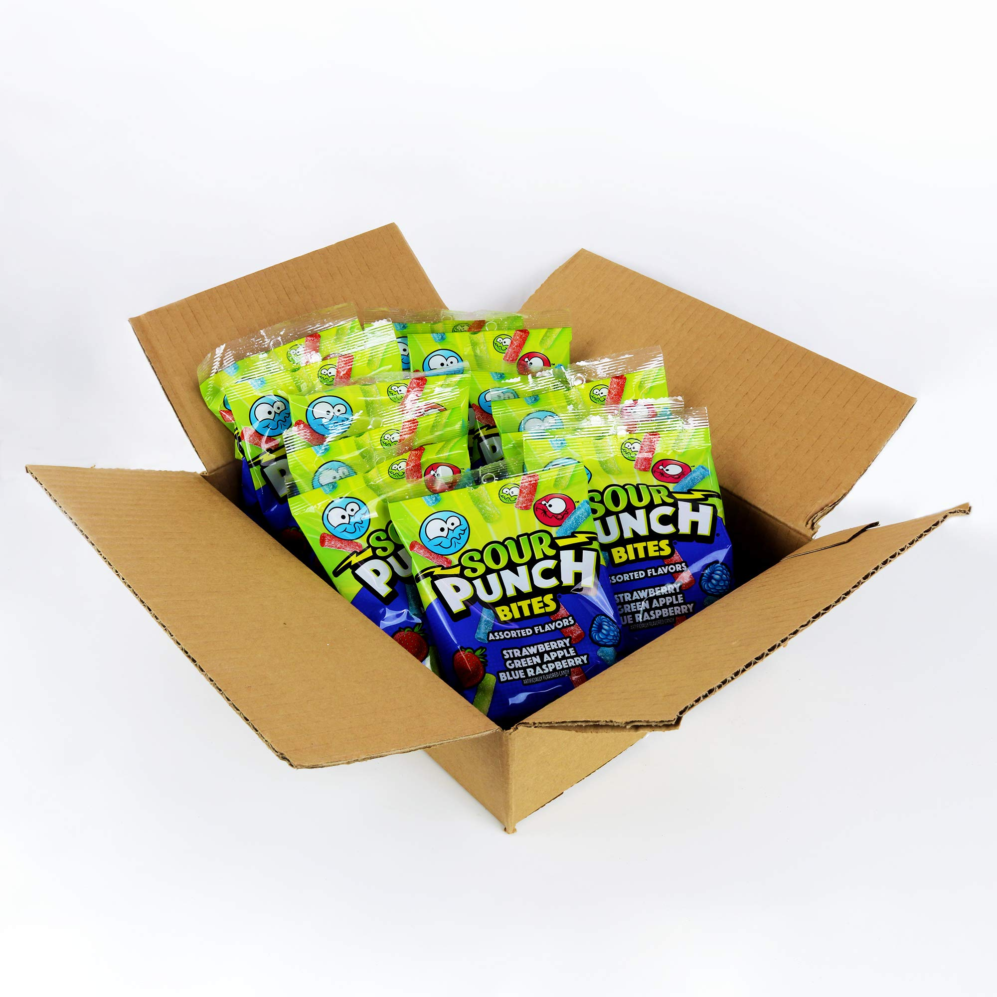 Sour Punch Bites, Assorted Sweet & Sour Fruit Flavors, Chewy Candy, 5oz Bag  (12 Pack)