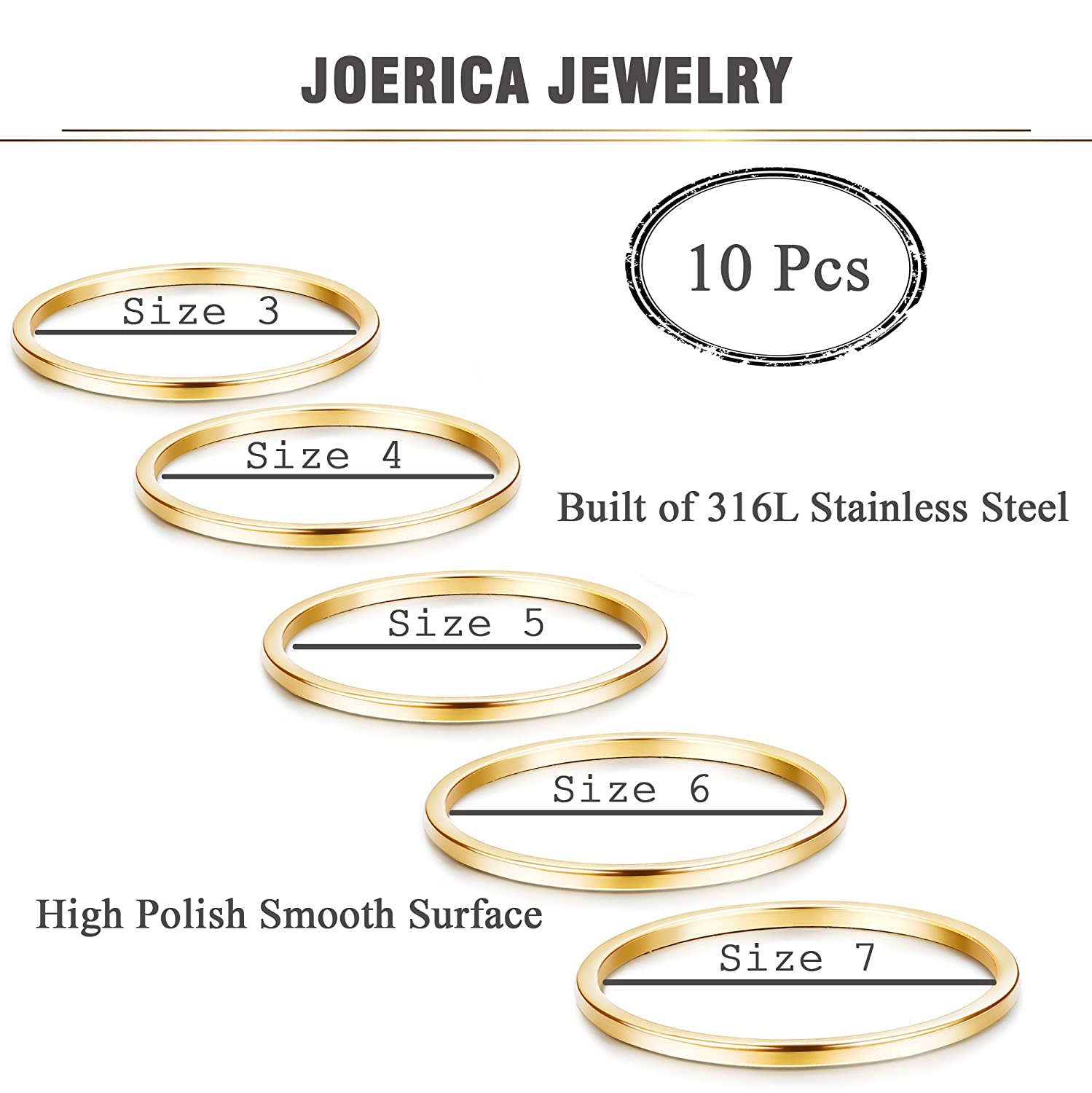 JOERICA 10Pcs 1mm Stainless Steel Stacking Rings for Women Girls Band Knuckle Midi Rings Comfort Fit Silver//Gold Tone
