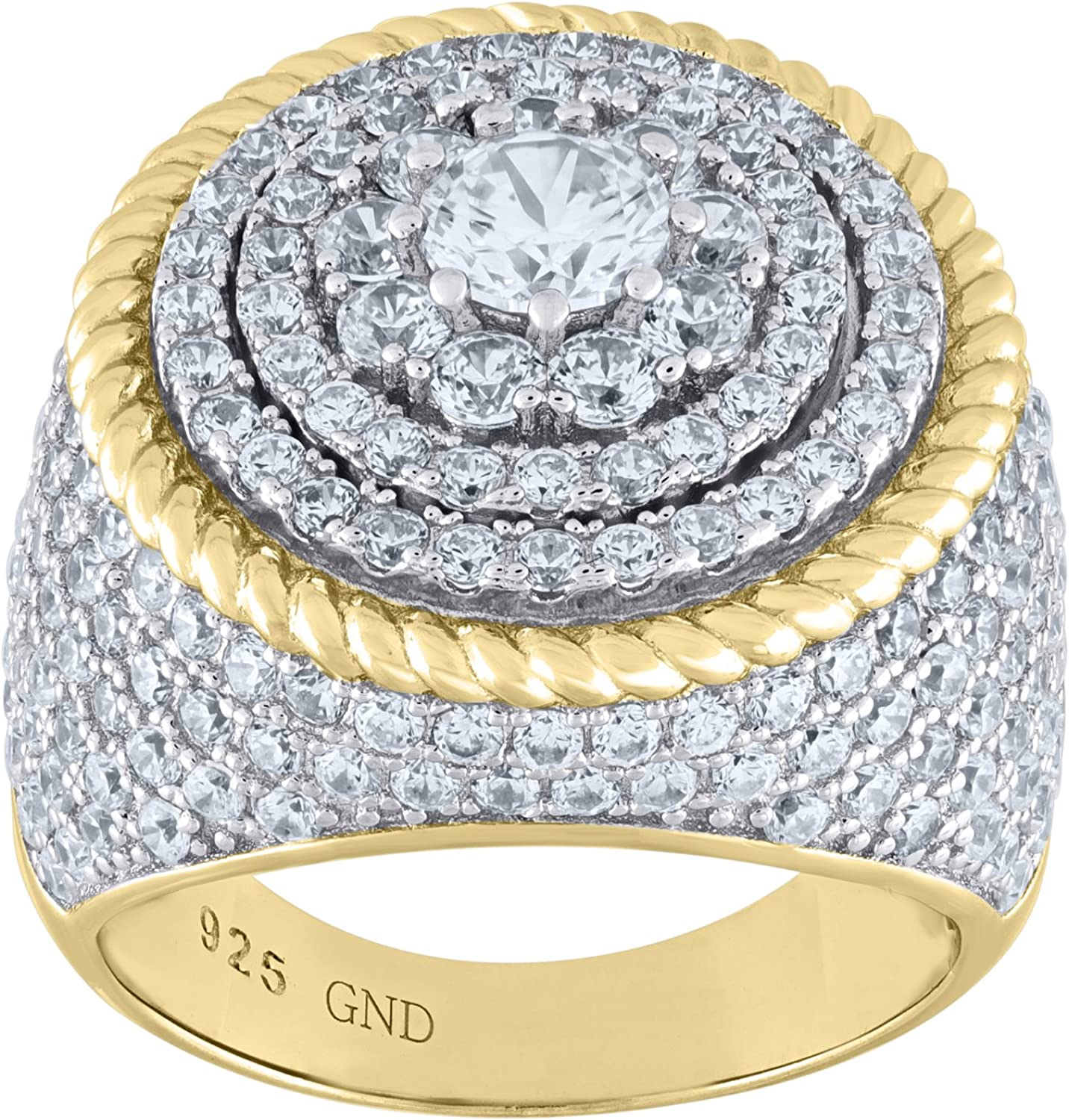 Jawa Jewelers 925 Sterling Silver Two-tone CZ Round Head SZ8-17.6gm Mens Ring Band
