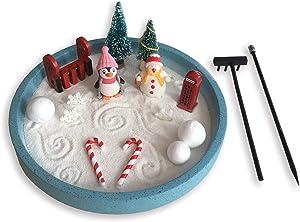 Mini Zen Garden Winter, Holiday Snow, Desktop Sandbox for Meditation and Relaxation