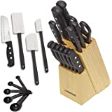 Farberware 5152501 'Never Needs Sharpening' 22-Piece Triple Rivet Stainless Steel Knife Block Set with Kitchen Tool Set For Back to School College, Black