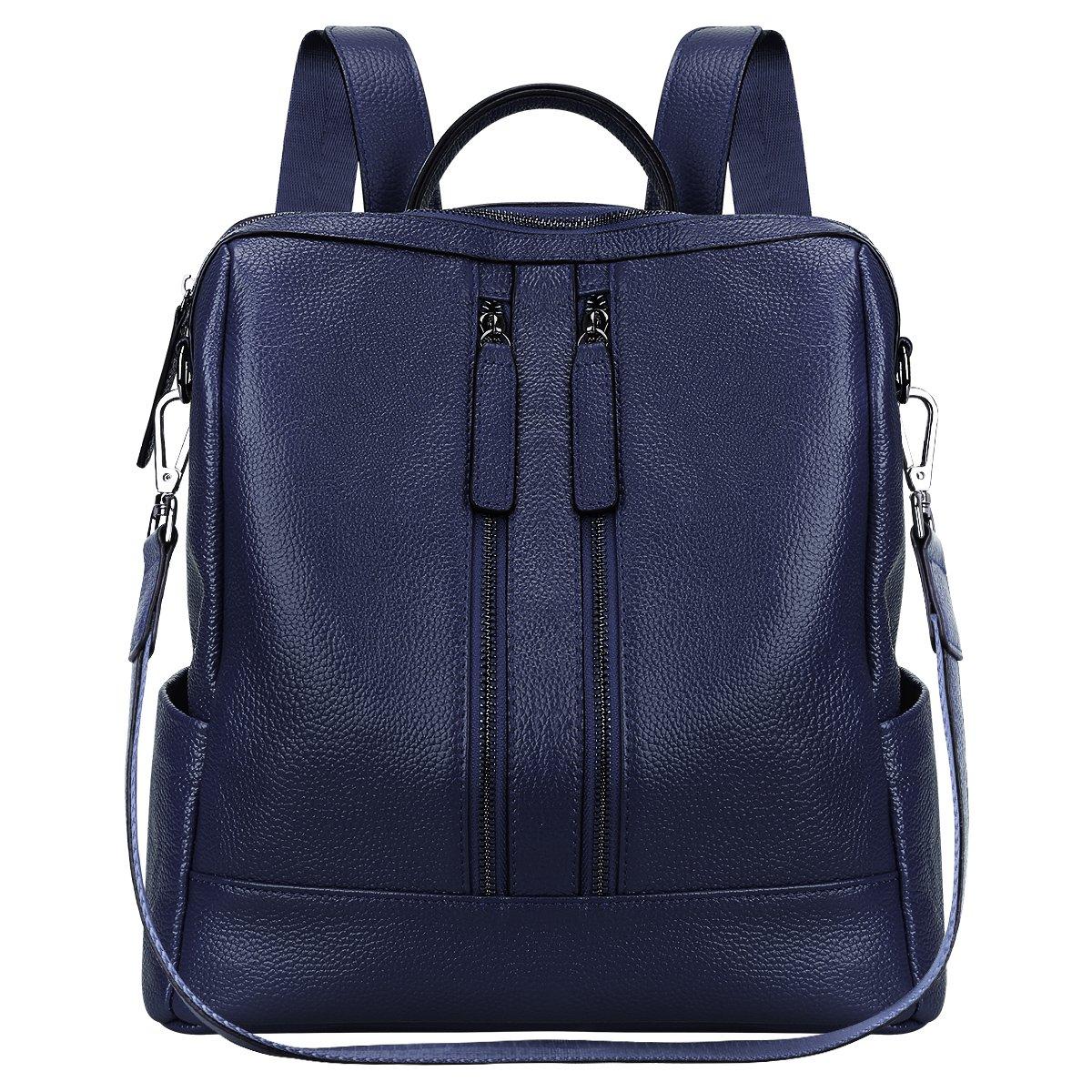S-ZONE Women Genuine Leather Backpack Casual Shoulder Bag Purse Medium (Blue)