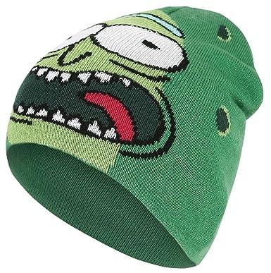 d7346c69625 Bioworld Men s Morty Pickle Rick Face Cuffless Beanie Green