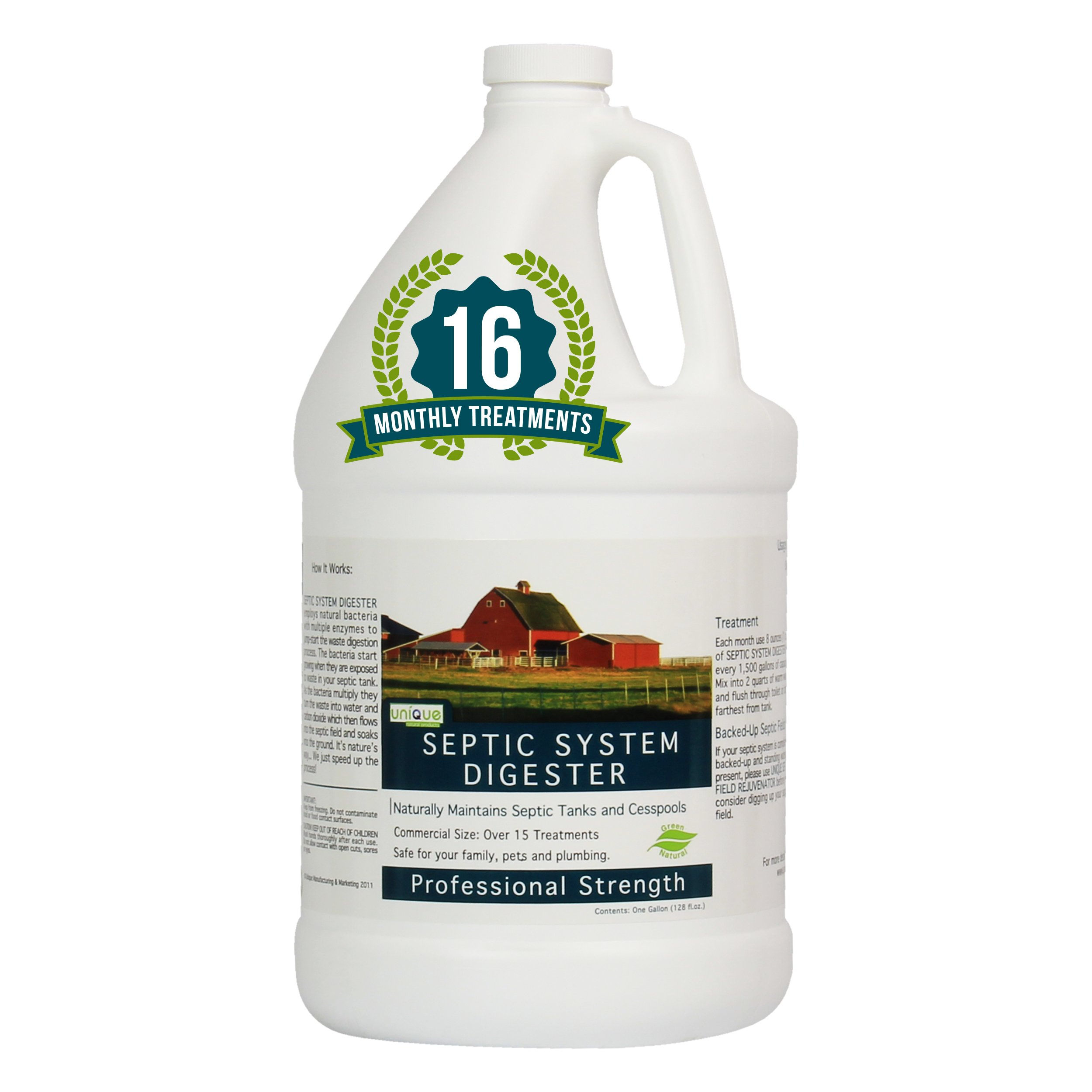 Unique Septic System Digester | 16 Monthly Treatments | Treats Septic Systems Of All Sizes | Reduces sludge quickly preventing foul odors and disgusting backups | Reduces frequency of septic pump outs by Unique Natural Products