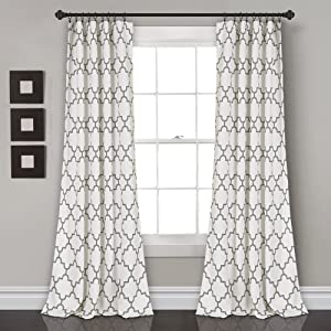 "Lush Decor, Gray Bellagio Room Darkening Curtains-Trellis Geometric Design Window Panel Drapes Set for Living, Dining, Bedroom (Pair), 108"" x 52 108"" x 52"""