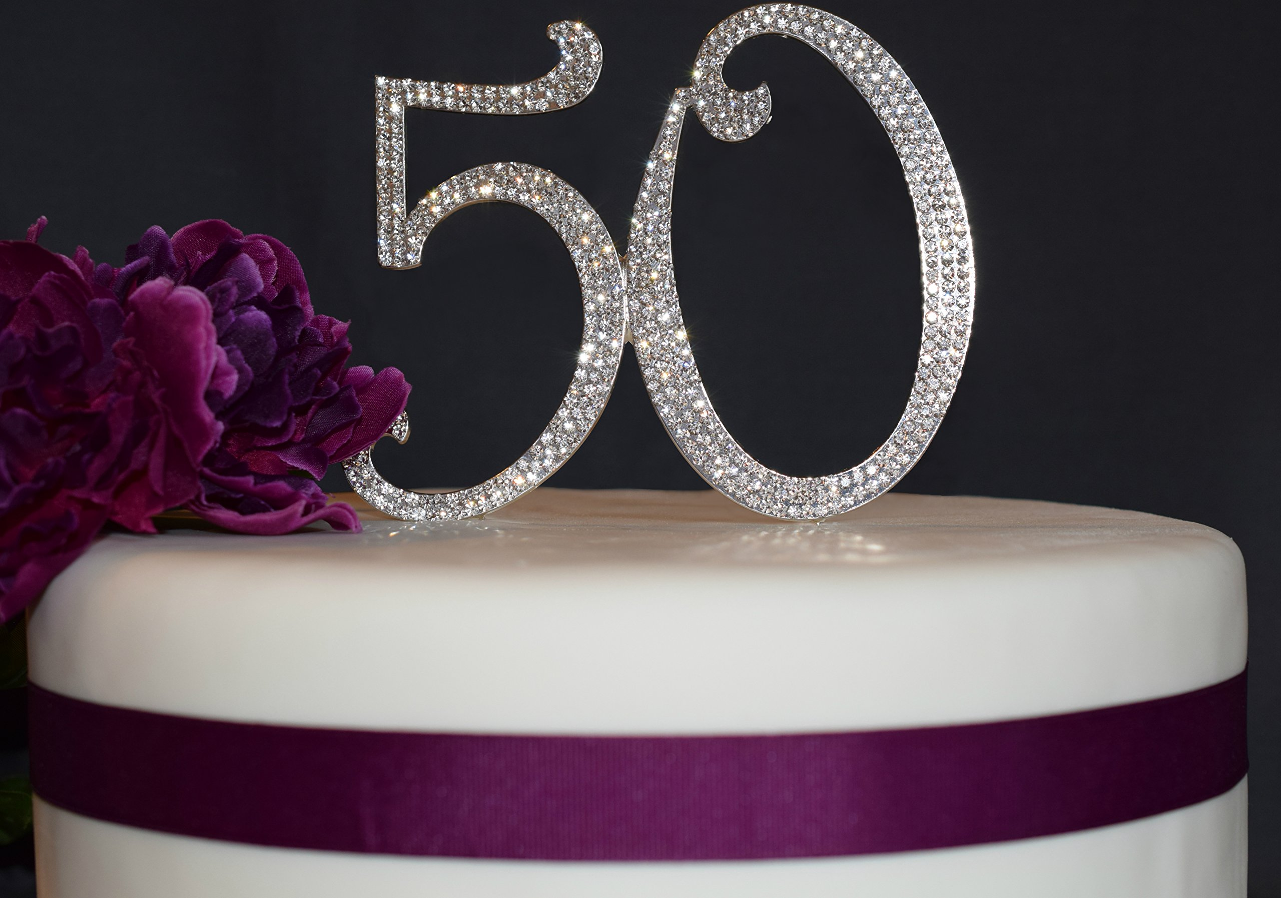 50 Cake Topper | Premium Sparkly Crystal Rhinestones | 50th Birthday or Anniversary Party Decoration Ideas | Perfect Keepsake (50 Silver)