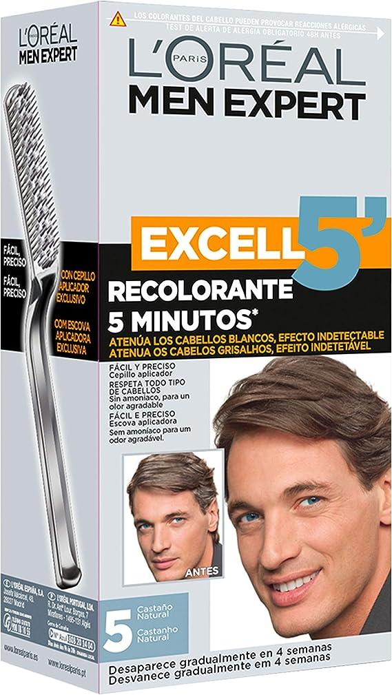LOréal Men Expert Coloración Excell 5 - Recolorante 5 Minutos, Tono 5, Castaño Natural
