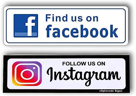 Esplanade Volg Ons Op Instagram En Facebook Sign Sticker Decal Eenvoudig Te Monteren Weerbestendige Langdurige Inkt Amazon Nl