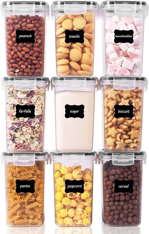 Vtopmart 1.6L Recipientes para Cereales Almacenamiento de Alimentos, Jarras de Almacenamiento de Plástico con Tapa Hermética Sin BPA,Juego de 9 + 24 Etiquetas, para harina,café (Negro)