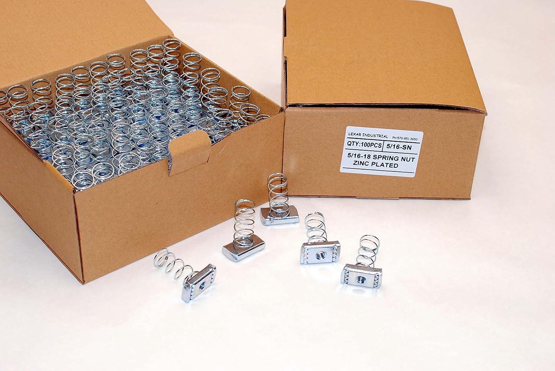 100 Strut Channel Nuts 5//16-18 Standard Spring Zinc Plated Unistrut Nut