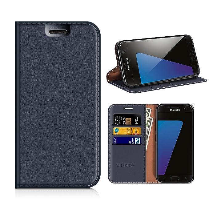 MOBESV Custodia in Pelle Samsung Galaxy S7, Custodia Samsung Galaxy S7 Cover Libro/Portafoglio Porta per Cellulare Samsung Galaxy S7 - Blu Scuro