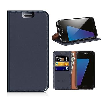 MOBESV Funda Cartera Samsung Galaxy S7, Funda Cuero Movil Samsung S7 Carcasa Case con Billetera/Soporte para Samsung Galaxy S7 - Azul Oscuro