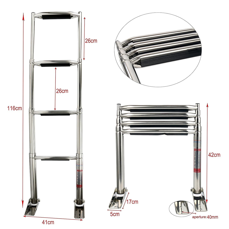 Amarine-made 4 Step Wide Steps Stainless Steel Telescoping Boat Ladder Swim Step More durable pedal alfa marine Shanghai