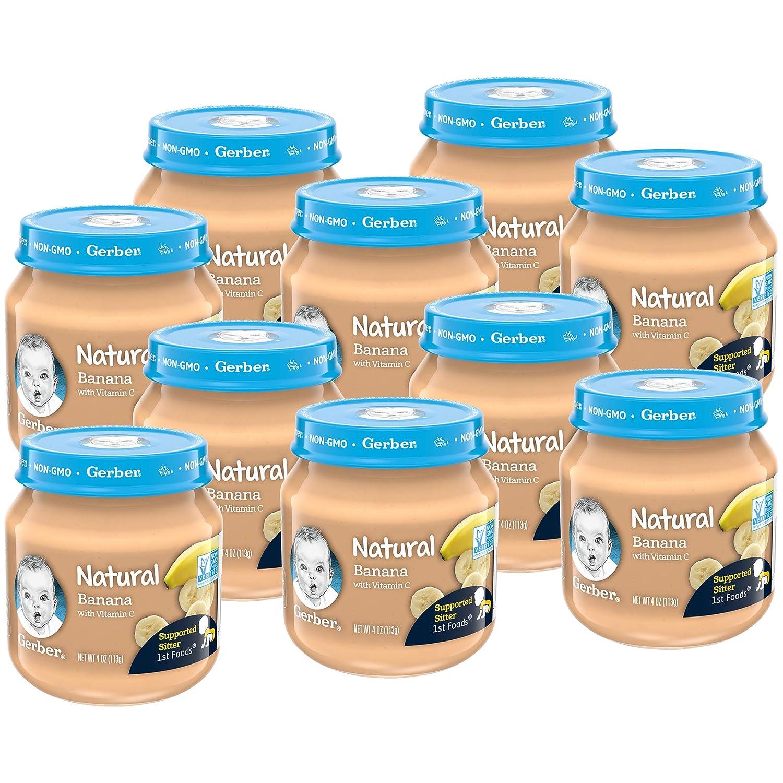 Gerber 1st Foods Natural Baby Food Jar, Banana, 4 OZ (Pack of 10)