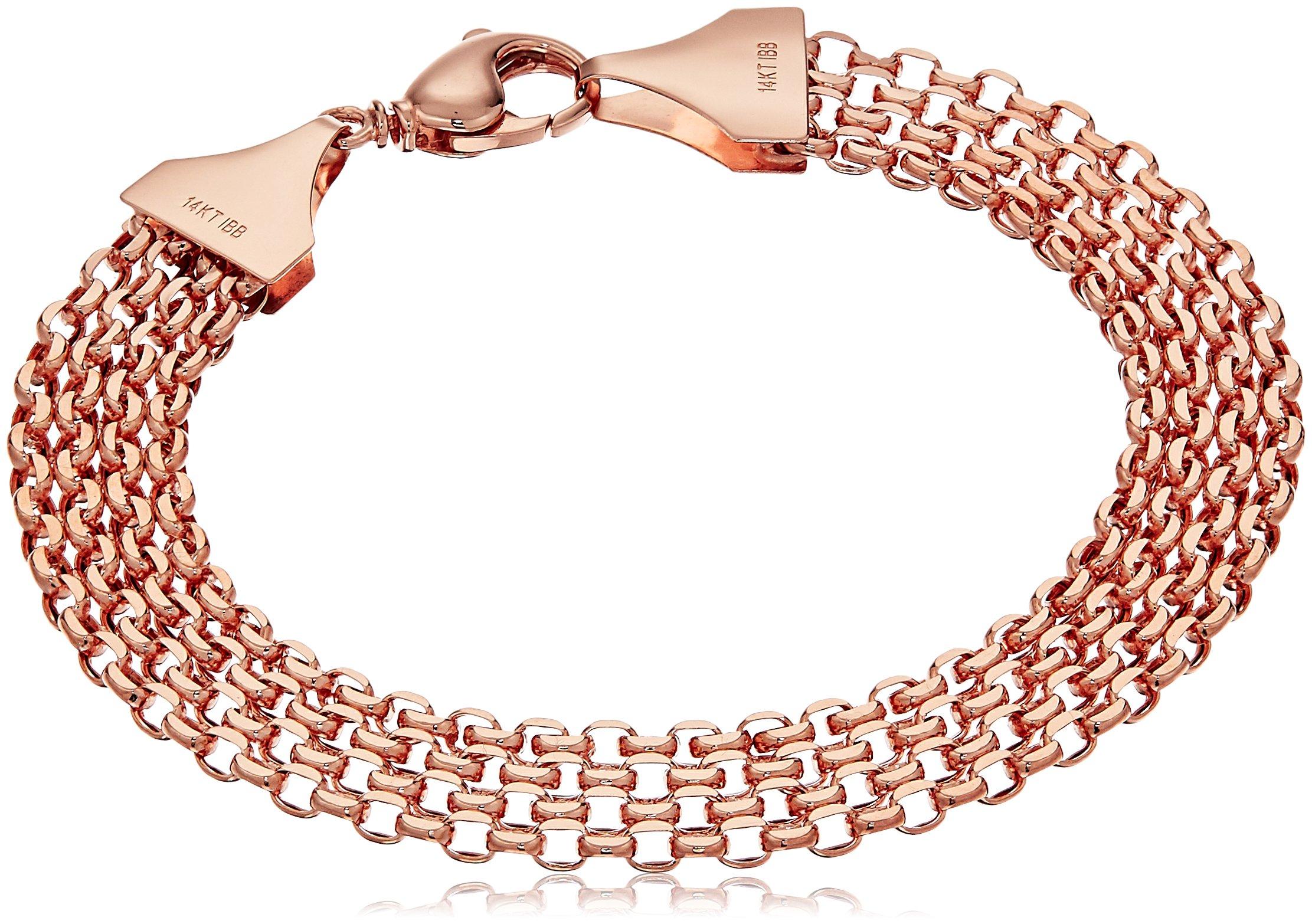 14k Rose Gold Multi-Row Bismark Chain Link Bracelet, 7''
