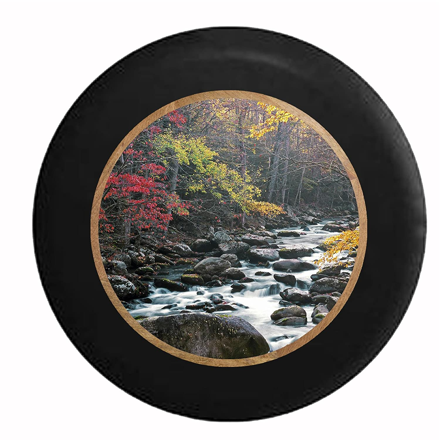 Full Color Tennessee River Stream Through the Trees from Rocky Mountains Jeep RV Camper Spare Tire Cover Black 33 in Pike Outdoors