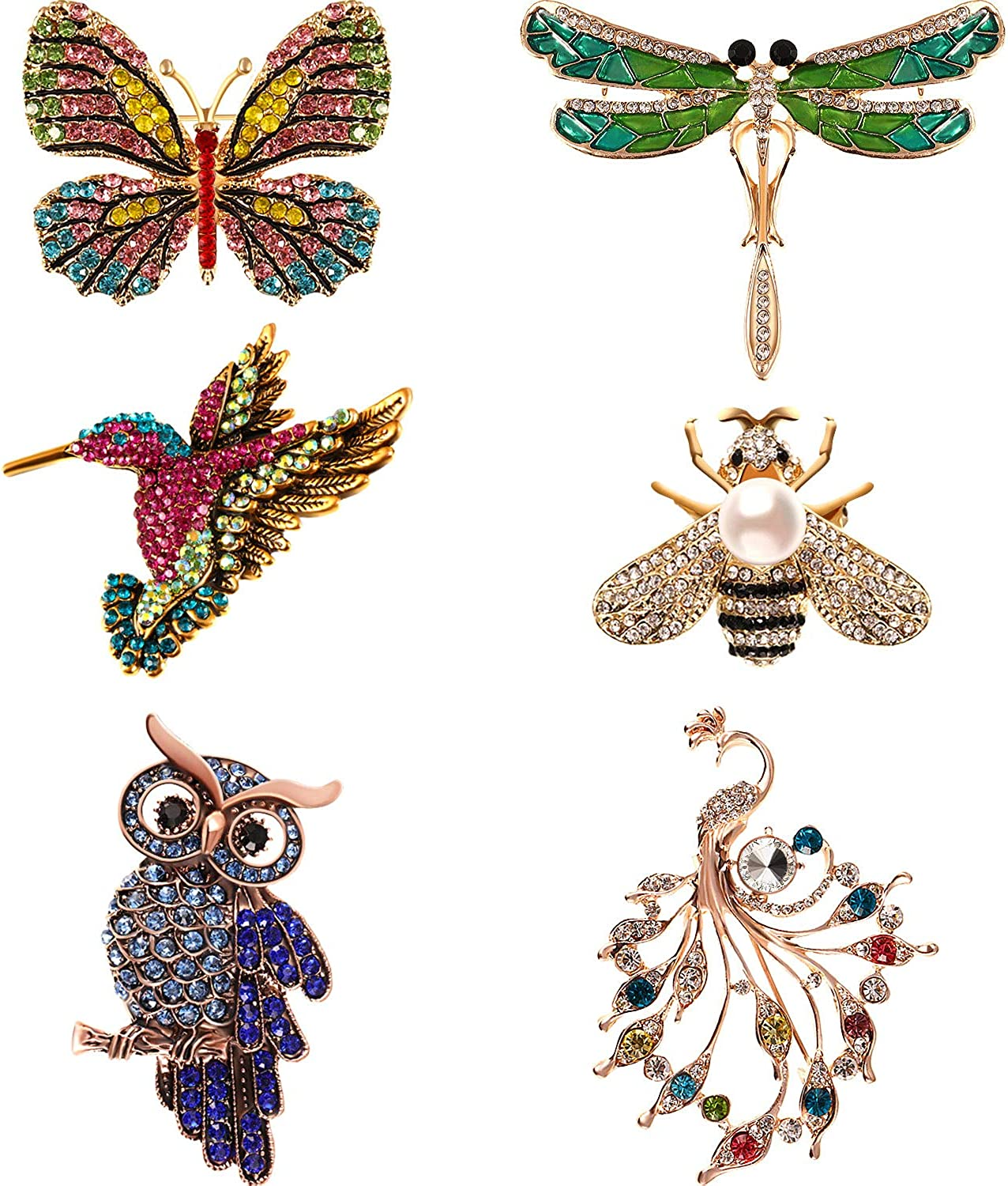 Purple Enamel Butterfly Bird Brooches Men And Womens Metal Rhinestone Insects Banquet Wedding Brooch Gifts 6