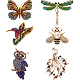 Hicarer 6 Pieces Women Brooch Set Crystal Pin Brooch Colorful Animal Shape Brooch Pin for Women Girls Party Favors (Dragonfly, Butterfly, Hummingbird, Owl, Peacock, Bee Design)