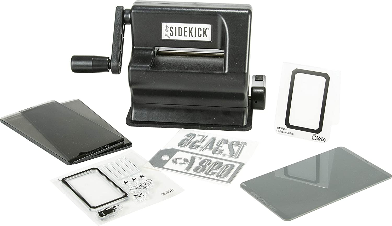 Sizzix Sidekick Starter Kit por Tim Holtz 664175 Máquina de Troquelado Manual portátil para Manualidades, álbumes de Recortes y Tarjetas, Apertura de 6,35 cm, Negra, 6.35cm