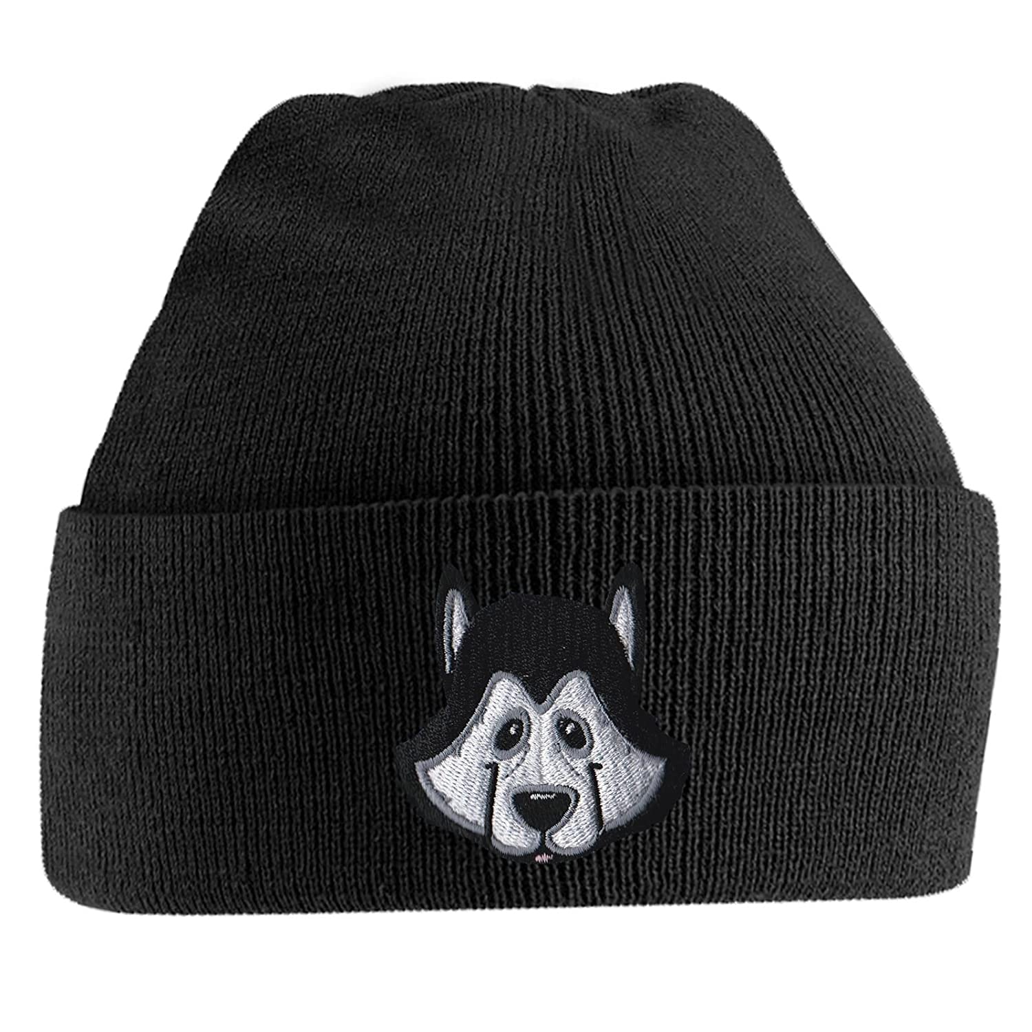 e5473c5cf18 Beanie Hats for Men Siberian Husky Beanies Embroidered Animal Face Knitted  Wooly Hat One Size Fits All Beanie Hat - Black  Amazon.co.uk  Clothing
