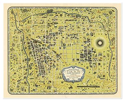 Amazon.com: Map of Tucson, Arizona & vicinity circa 1943 - measures ...