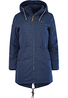 Details zu Mazine Library Parka Navy Dots Damen Jacke Winterjacke Blau